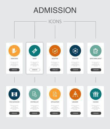 Illustration pour Admission Infographic 10 steps UI design.Ticket, accepted, Open Enrollment, Application simple icons - image libre de droit
