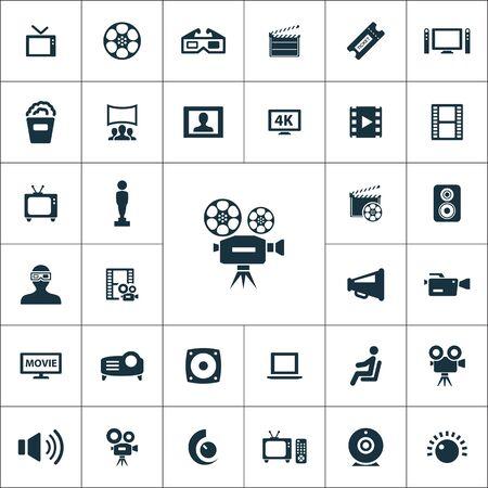 Illustration pour cinema icons universal set for web and mobile. - image libre de droit