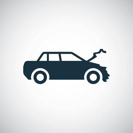Illustration pour car crash icon, on white background. - image libre de droit