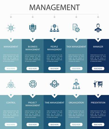 Illustration pour Management Infographic 10 steps UI design.manager, control, organization, presentation simple icons - image libre de droit