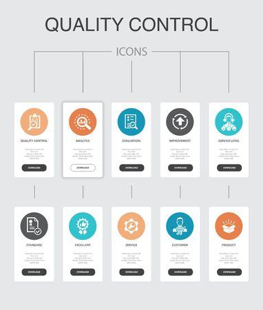 Illustration pour quality control Infographic 10 steps UI design.analysis, improvement, service level, excellent simple icons - image libre de droit