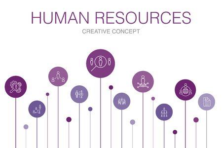 Illustration pour Human Resources Infographic 10 steps template.job interview, hr manager, outsourcing, resume simple icons - image libre de droit