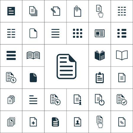 Illustration pour document icons universal set for web and UI - image libre de droit
