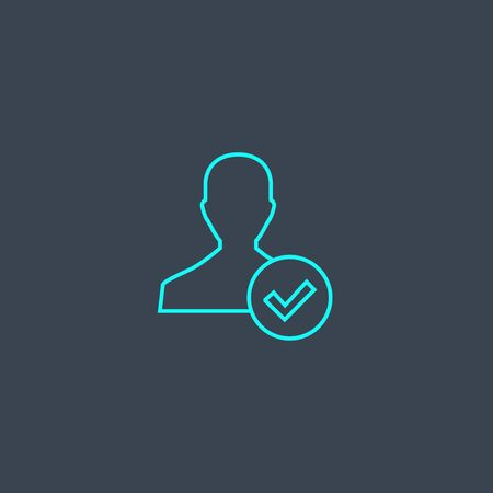 Illustration pour account concept blue line icon. Simple thin element on dark background. account concept outline symbol design. Can be used for web and mobile - image libre de droit