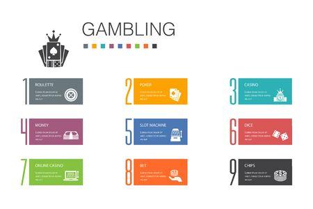Illustration pour gambling Infographic 10 option line concept.roulette, casino, money, online casino simple icons - image libre de droit