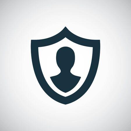 Illustration pour human shield insurance icon, on white background. - image libre de droit