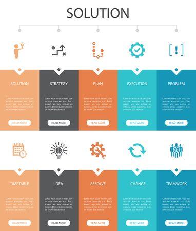 Illustration pour Solution Infographic 10 option UI design. strategy, plan, execution, timetable simple icons - image libre de droit