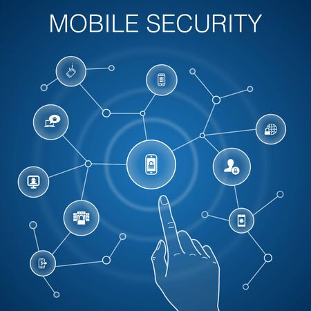Illustration for mobile security concept, blue background.mobile phishing, spyware, internet security, data protection icons - Royalty Free Image