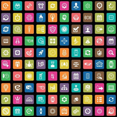 Illustration pour time management 100 icons universal set for web and UI - image libre de droit