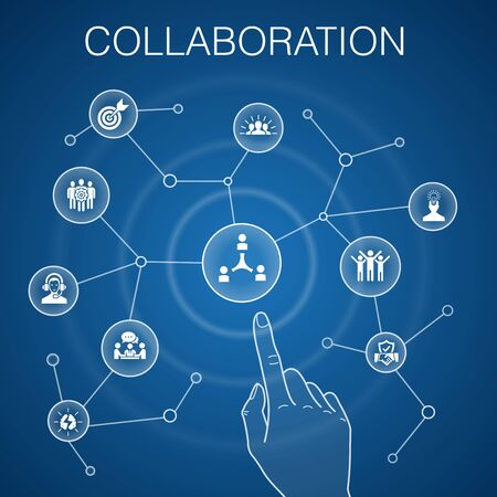 Illustration for collaboration concept blue background teamwork, support, communication, motivation icons - Royalty Free Image