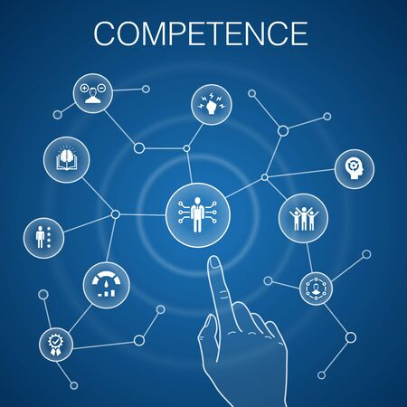 Illustration for Competence concept blue background. knowledge, skills, performance, abilitysimple icons - Royalty Free Image
