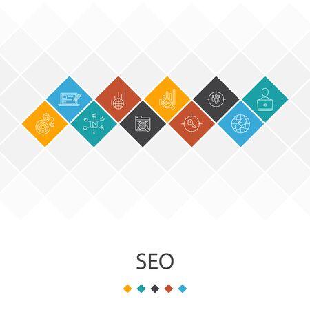 Photo pour SEO trendy UI template infographics concept. Search engine, Target keywords, Web analytics, SEO monitoring icons - image libre de droit