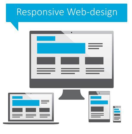 Illustration pour Responsive web-design on white backgrounds. - image libre de droit