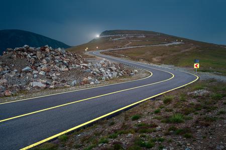 Photo pour Transalpina road at dusk, highest and most dangerous asphalt road in Romania. - image libre de droit