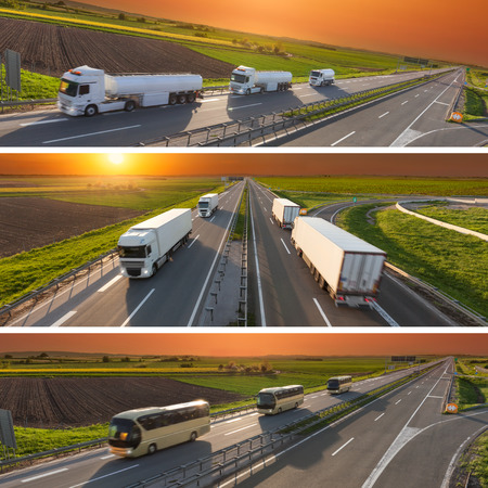 Commercial collage - banner - advertisment for the purposes of business success in the category of reliable fast transport and secure travel in blurred motion.