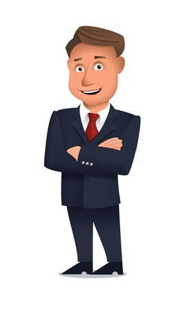 Businessman standing alone with arms crossed