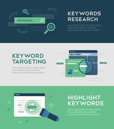 Illustration for Keywords management banners on flat background of keywords research, keywords targeting. tweaking titles and descriptions. Web development and SEO. Search engine optimization, technology and innovation - Royalty Free Image