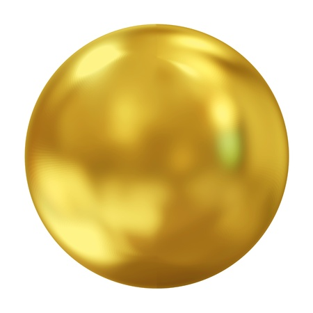 3d Golden Sphere isolated on white background