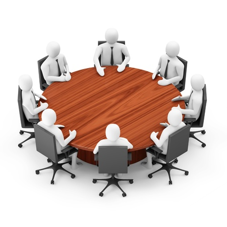 3d Men Sitting at a Round Table over white background