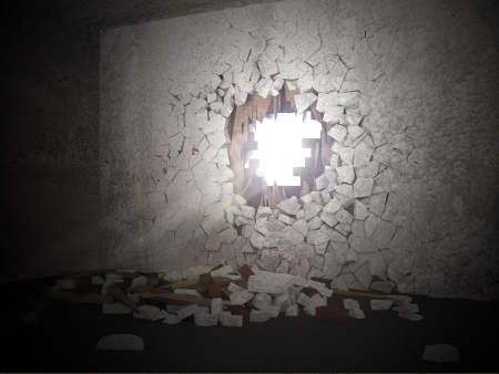 Grunge Room Interior with Sun Rays Breaking Through the Hole in the Concrete Wall