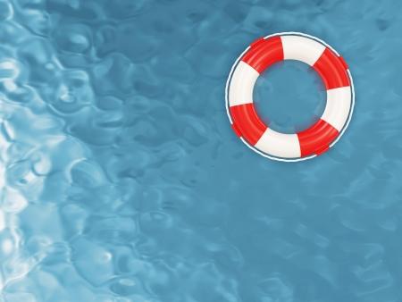 Photo pour Red Lifebelt on the Water - image libre de droit