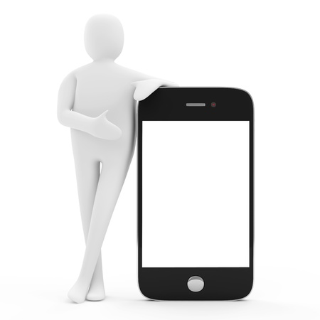 3d Man with Blank Smartphone isolated on white background