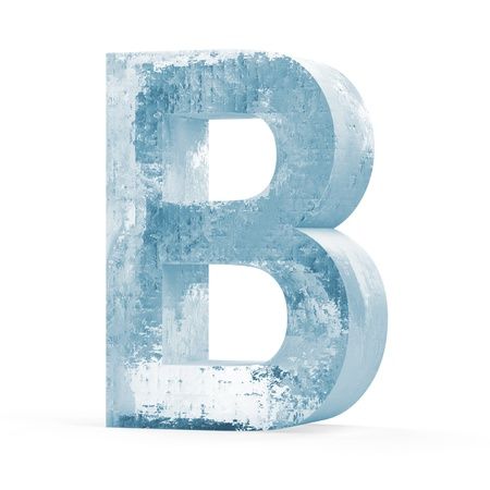 Icy Letters isolated on white background  Letter B