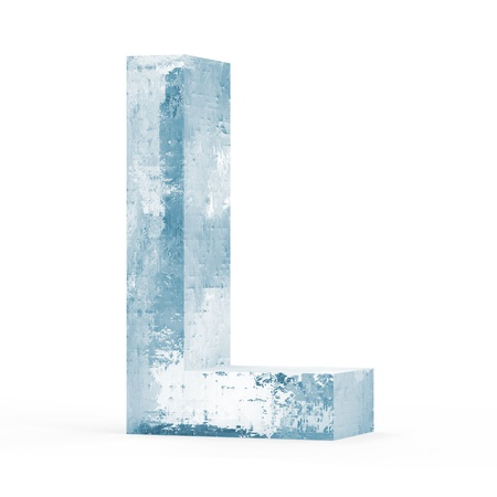 Icy Letters isolated on white background  Letter L