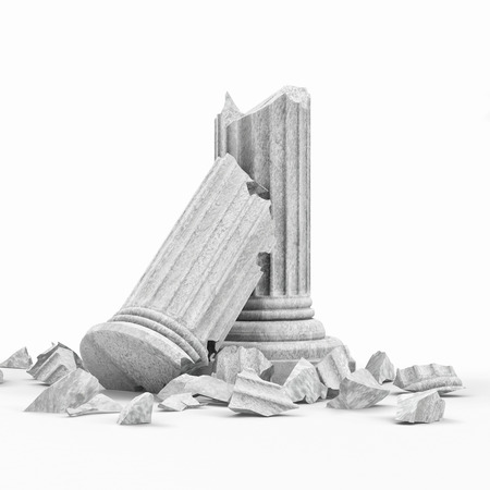 Broken Classic Ancient Column isolated on white background