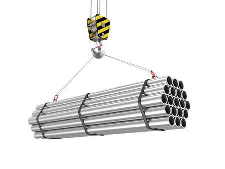 Photo for Crane Hook with Stack of Steel Metal Tubes isolated on white background - Royalty Free Image