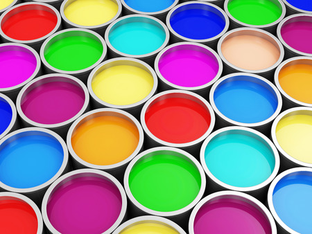 Heap of Colorful Paint Cans Abstract Background