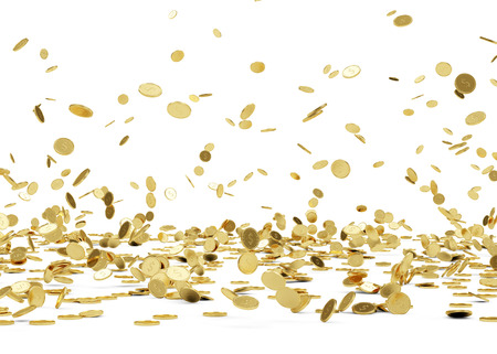 Rain from Golden Coins  Falling Gold Coins Isolated on white background