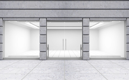 Foto de Modern Empty Store Front with Big Window - Imagen libre de derechos