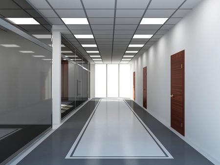 Modern Empty Office Interior with Big Windows
