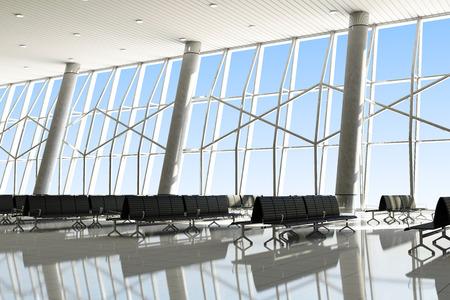 Modern Interior of an Airport Terminal Waiting Area.