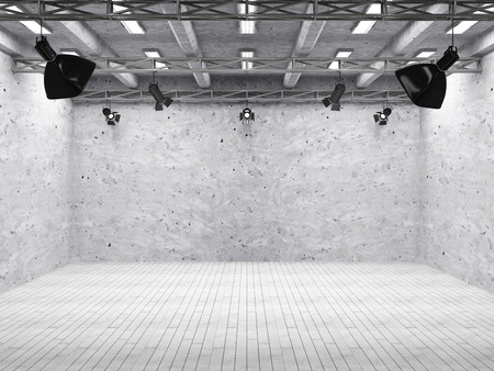 Pavilion Interior of Modern Film Studio with Light Equipment