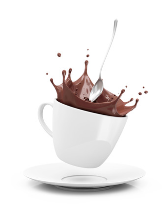Photo pour Cup of Hot Chocolate with Crown Splash isolated on white background - image libre de droit