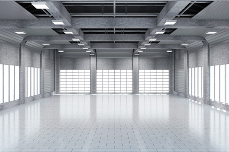 Photo for Modern Storehouse 3D Interior with Large Windows. - Royalty Free Image