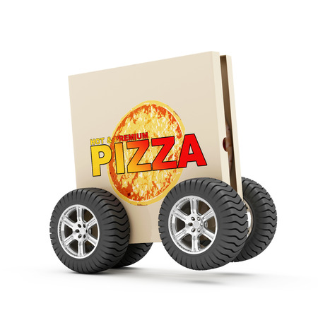 Hot and Fresh Pizza Fast Delivery Concept. Pizza Box with Fresh 3D Pizza Inside on Wheels isolated on white background