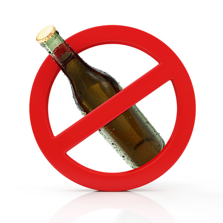 No Alcohol Sign Concept. Red Forbidden Symbol with Bottle of Beer isolated on white background