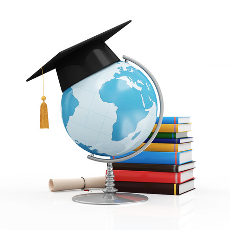Photo pour Education Concept. Desk Globe with Graduation Cap Diploma and Books isolated on white background Elements of this image furnished by NASA - image libre de droit
