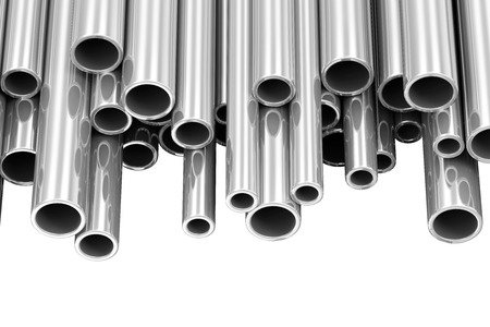 Steel Metal Tubes isolated on white background with place for Your text