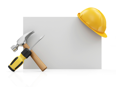 Repair, Industrial or Under Construction Concept. Screwdriver with a Claw Hammer with Yellow Construction Safety Helmet on a White Blank Board isolated on white background
