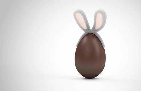 Happy Easter Concept. Big Chocolate Egg with Furry Bunny Ears on gradient background with place for Your Text