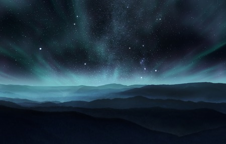 Photo pour Starry night sky with aurora over the hills - image libre de droit