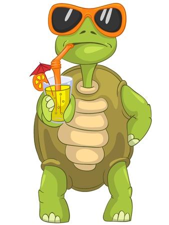 Illustration pour Funny Turtle Drinking Cocktail  - image libre de droit