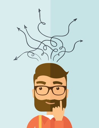 Ilustración de The man with a beard thinking of choice. Decision concept. Vector flat design illustration. Vertical layout. - Imagen libre de derechos