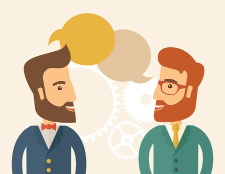 Illustration pour Two happy hipster Caucasian men with beard facing each other wearing jacket sharing and gathering ideas with bubble text on the top of their heads. Team building concept. A contemporary style with pastel palette, beige tinted background. Vector flat desig - image libre de droit