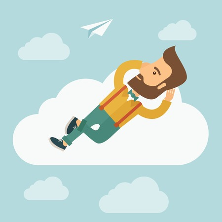A hipster Caucasian man is relaxing while lying on a cloud. A contemporary style with pastel palette soft blue tinted background with desaturated clouds. Vector flat design illustration. Square layout.