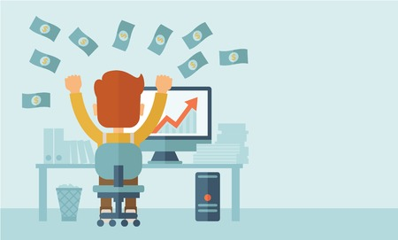 Illustration pour Successful young businessman happy falling the money while sitting infront of his computer with the graph showing the arrow going up increasing in sales. Business growth concept. A contemporary style with pastel palette, soft blue tinted background. Vecto - image libre de droit